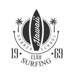 hawaii surfing club summer school logo template vector image