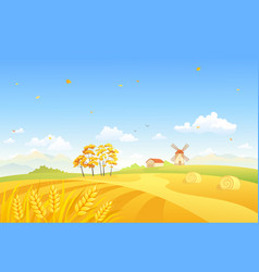 Autumn fields and windmill vector
