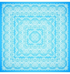 Ornate lacy blue and white ornament vector