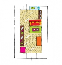 Interior design apartments top view vector