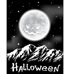 Halloween background with full moon over mountains vector