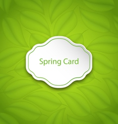 Spring card on eco pattern with green leaves vector