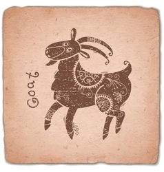 Goat chinese zodiac sign horoscope vintage card vector