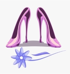 Womens high shoes pink color and flower vector