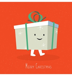 Merry christmas cute gift box coming vector