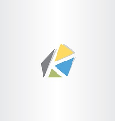 Letter k with triangles logo logotype icon vector