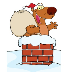 Santa bear in a chimney vector