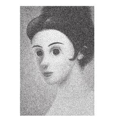 Sixties vintage dressed girl halftone portrait vector image