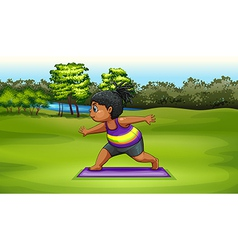 A woman doing yoga near the river vector image
