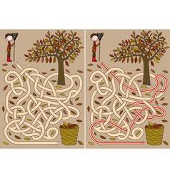 Autumn maze vector image