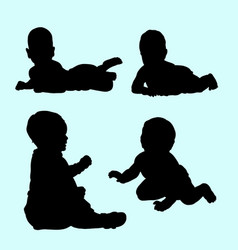 baby relax and playing silhouette vector image vector image