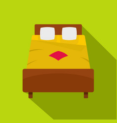 Bed with yellow blanket icon flat style vector