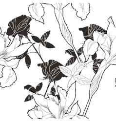 Black and white seamless pattern with flowers-10 vector image vector image