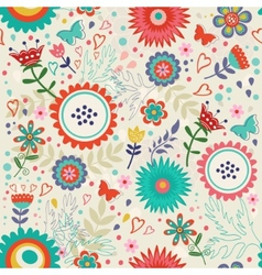 Blooming flowers pattern vector image vector image