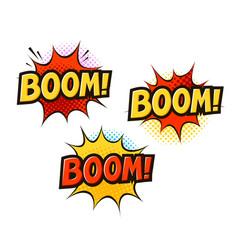 Boom in pop art retro comic style cartoon slang vector