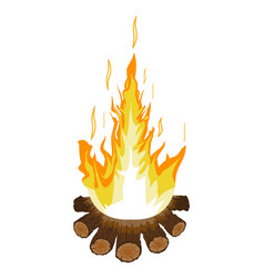 Burning bonfire or campfire logs and fire vector