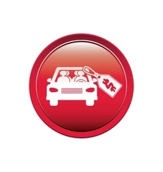Button with car and price tag dollar vector