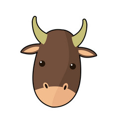 Cartoon cute ox face animal manger character vector