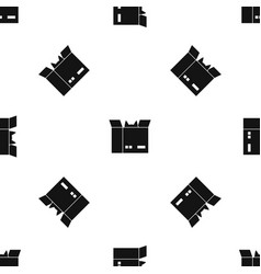 Cat in a cardboard box pattern seamless black vector