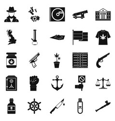 Crime investigation icons set simple style vector