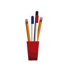 Cup with pencil pen utensils vector