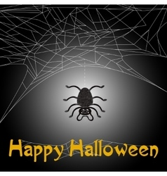 Cute spider and web with happy halloween text vector