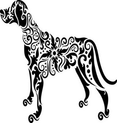 Dog tatto vector image