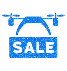 Drone sale banner grunge icon vector
