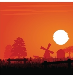 Farm in the sunset vector