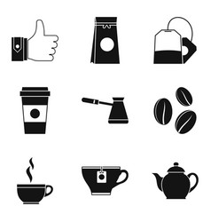 Ground coffee icons set simple style vector