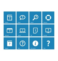 Help and faq icons on blue background vector