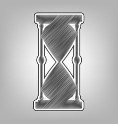 Hourglass sign pencil sketch vector