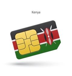 Kenya mobile phone sim card with flag vector