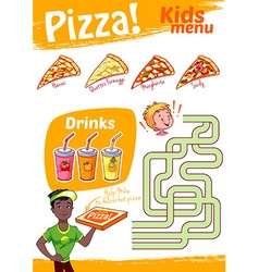 Kids menu pizza with maze game a4 size tem vector