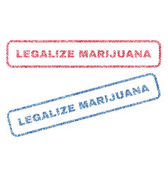 Legalize marijuana textile stamps vector