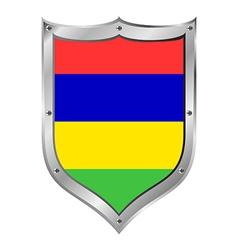 Mauritius flag button vector image
