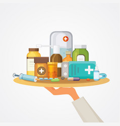 Pharmacy concept with pills capsules doctor hand vector