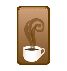 rectangular emblem with hot cup of coffee vector image