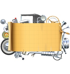 Retro Car Parts Frame vector image vector image