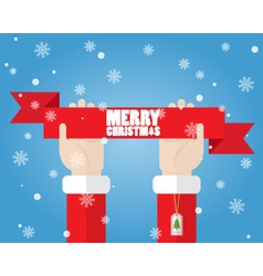 Santa claus hand holding ribbon merry christmas vector