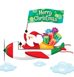 Santa claus with gift boxes happy on airplane vector