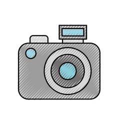 Scribble cute grey camera cartoon vector