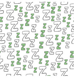 seamless pattern with cartoon letters z vector image