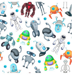 seamless pattern with cute funny robots vector image vector image