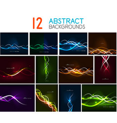 set of glowing wave lines abstract backgrounds vector image vector image