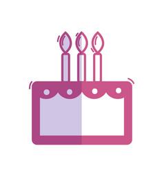 Silhouette delicious cake happy birthday vector