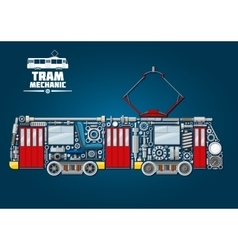 Tram mechanics icon made up of mechanical parts vector