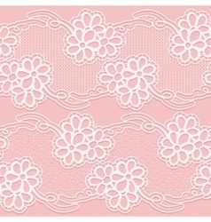 Two lace ribbons seamless white floral tape on a vector
