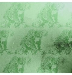 Vintage of green watercolor koala bears patt vector