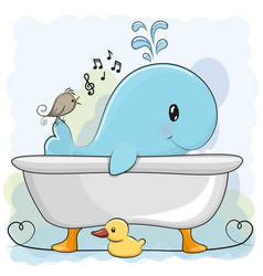whale in the bathroom vector image vector image